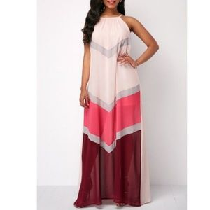 Dresses & Skirts - Maxi halter color block dress size S
